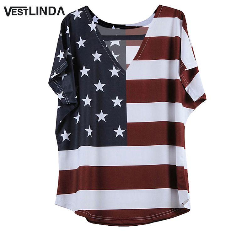 VESTLINDA Plus Size 5XL T Shirt Women Summer Style V-Neck Cotton Tshirt Short Sleeve Tee Shirt Flag Pattern Loose Casual T-shirt