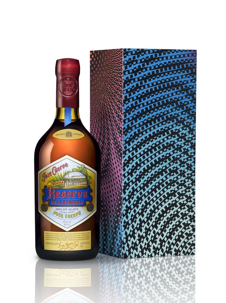 Jose Cuervo Limited Edition Reserva de la Familia. This $125 extra anejo comes inside a beautiful, collectors-worthy wooden box that is adorned with the art of Mexican designer, Enrique Rosas, famous for crossing the boundaries of art, science and technology.