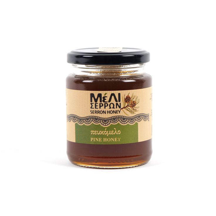 Melissokomiki Serron Pine Honey: Melissokomiki Serron is a company specialising in the production of honey, located in Serres, North Greece, with a history that goes back to 1988. Honeydew honey is produced by the juices of pine, fir and other forest plants. This Pine honey comes from the mountain Kerkini and has a smooth taste, rich aroma, high nutritional value, vitamins and minerals.