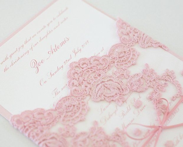 vintage lace baby shower invitations | Pink Vintage Antique Lace Christening Invitation - Le Petit