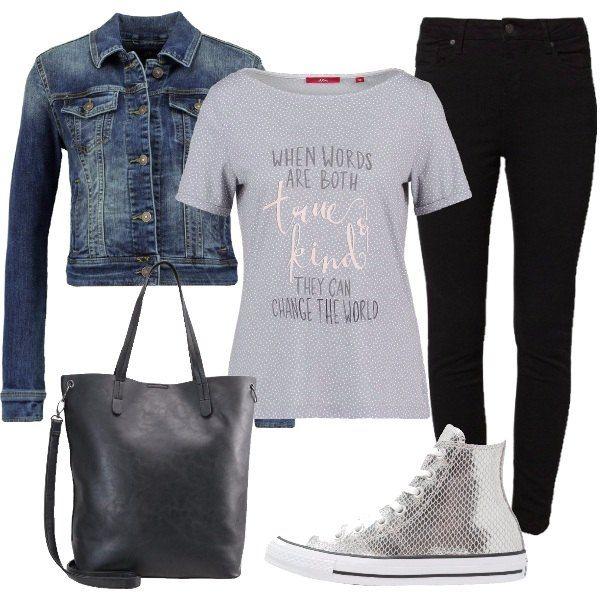 Jeans slim fit in nero a vita alta abbinato a t-shirt con stampa e giacca in denim lavaggio scuro. La sneakers alta comoda per tutti i giorni e la borsa in finta pelle a spalla è con tracolla con chiusura magnetica.