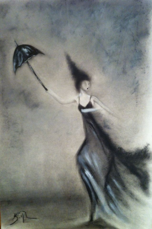 Charcoal & Acrylics on paper