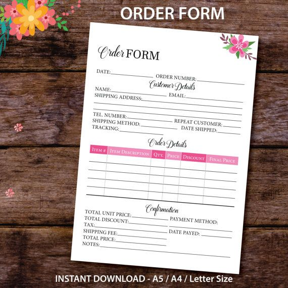 Keep your orders and your sales organized with this simple and practical Order Form.  This design features a colorful design and beautiful and elegant fonts. A great addition to your Small Business or Etsy Business Planner!  NOT YOUR SIZE? • Order Form Planner PERSONAL AND POCKET SIZE: http://etsy.me/2iyljt4  THIS DOWNLOAD INCLUDES: - one PDF containing the Order Form Planner Insert in US Letter paper size (8.5 x 11 in) - one PDF containing the Order Form Planner Insert in A4 p...