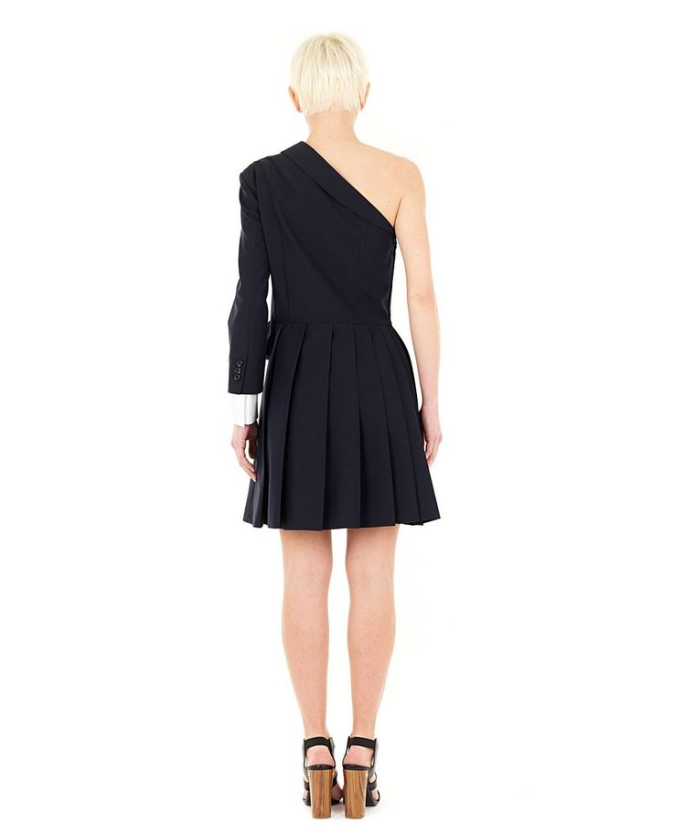 VIKTOR&ROLF -50% Blue one shoulder dress jacket-style top with shoulder strap front decoration with synthetic leather logo bell skirt side closure with hook and zipper 65% CO 35% MOHAIR