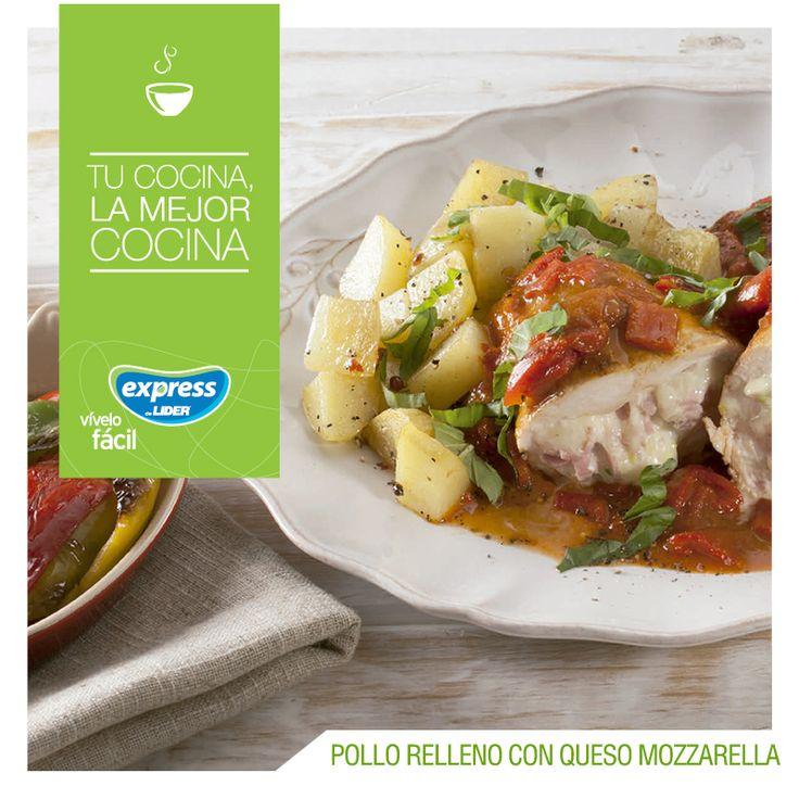 Pechugas de pollo rellenas con queso mozzarella    #Receta #Recetario #RecetarioExpress #ExpressdeLider #Pollo #Mozzarella
