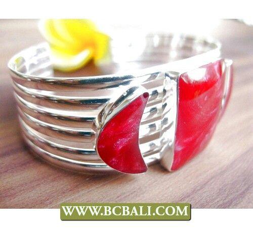 Red coral alpaka cuff bracelets