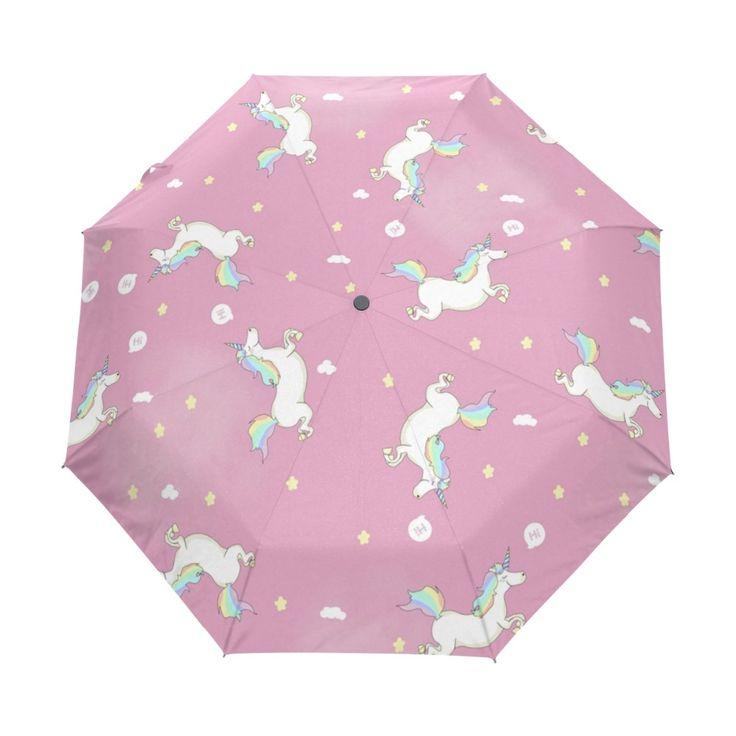 Lovely Unicorn Running Umbrella Custom Design Personalized Portable Triple Foldable Sun and Rain Umbrellas for Children Gift