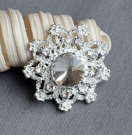 5 Large Rhinestone Button Embellishment Pearl Crystal Wedding Brooch Bouquet Invitation Cake Decoration Hair Comb Clip BT551