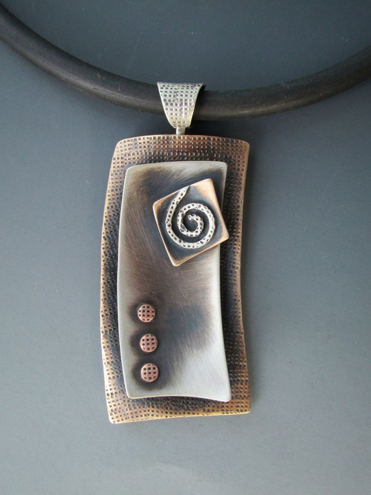 Bronze & Sterling Silver Sculptural Rectangle Pendant - B Nelson Designs Store