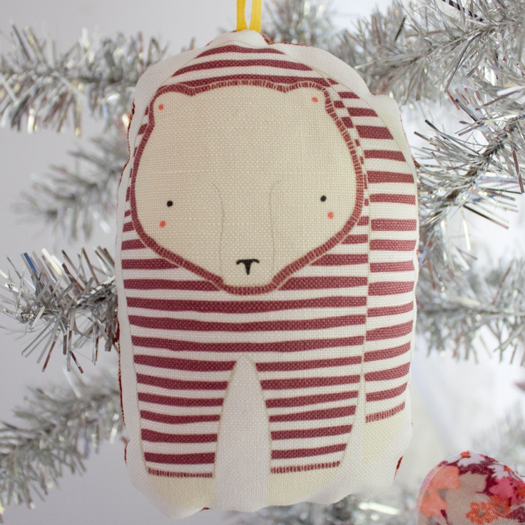 How CUTE!  Look what's making it's way to me for the holiday season :D    Christmas Ornament, Pajama Bear Christmas Ornament. $10.00, via Gingiber on Etsy.