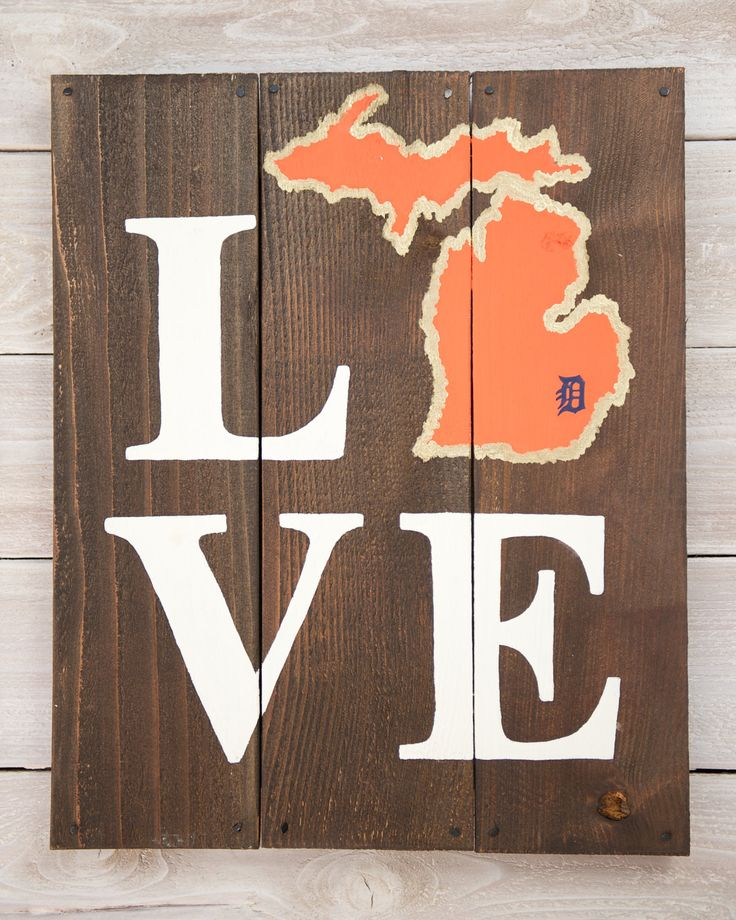 LOVE Detroit Tigers Michigan Wooden Sign by LarissaJBeers on Etsy, $38.00