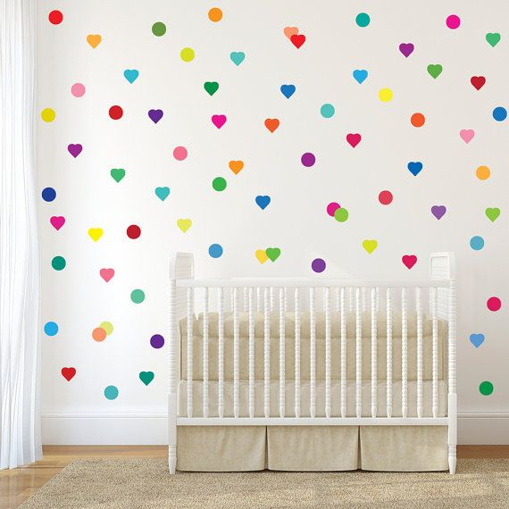 72 Confetti Rainbow Hearts and Polka Dot Wall Decals, Removable and Reusable