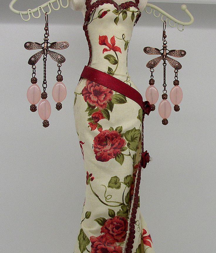 EAR 35 - Romantic Earrings Art Nouveau Small Dragonfly by ClassOfGlass on Etsy