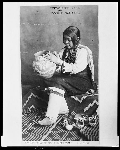 """The Pottery painter"" Isleta.  Karl E. Moon & Co., c1906 April 11.  Miscellaneous Items in High Demand, Library of Congress Prints and Photographs Division."