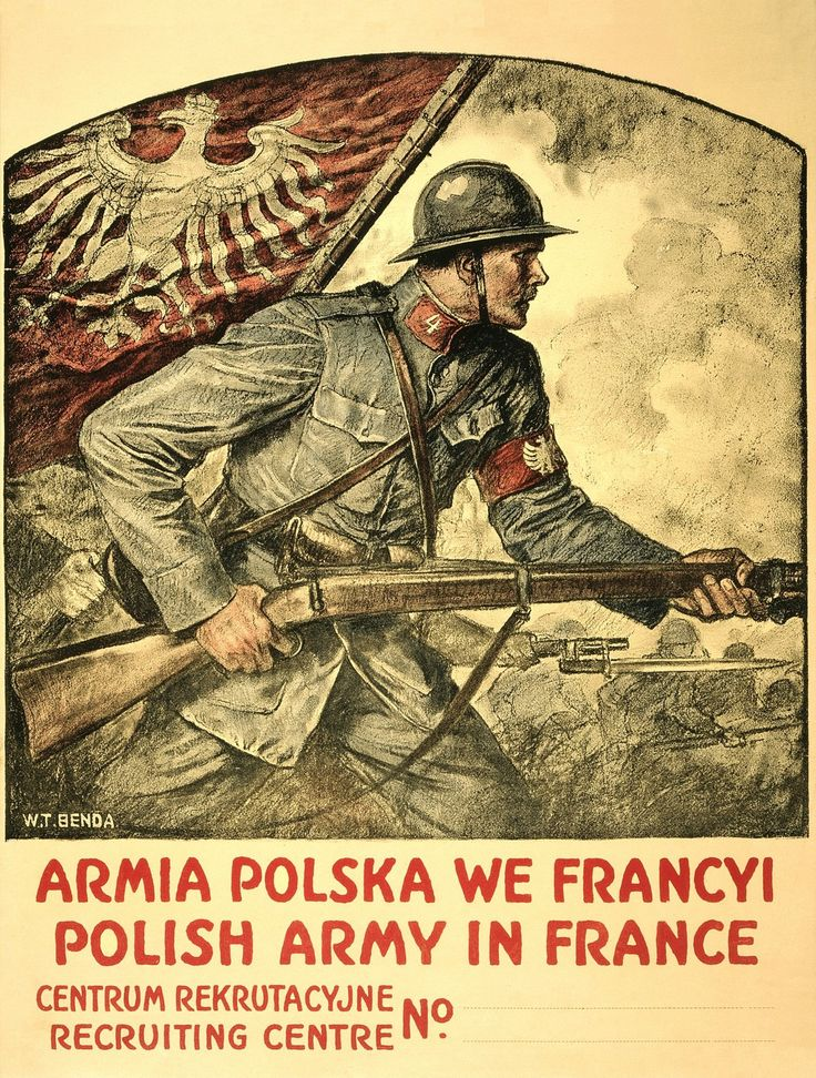 Polish Army In France / W. T. Benda. Poster Showing A Polish Soldier Brandishing A Rifle, And The Polish Flag.