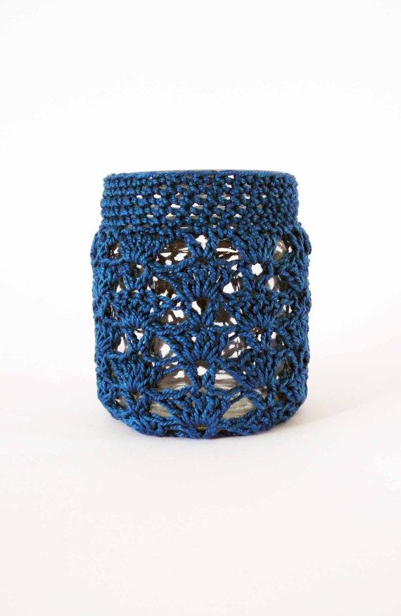 blue pot crochet tea light jar cosy cerulean by edwardandlilly, $20.00