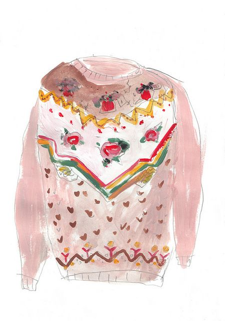 sketchy pullover rosa by ines_christine #watercolour #illustration