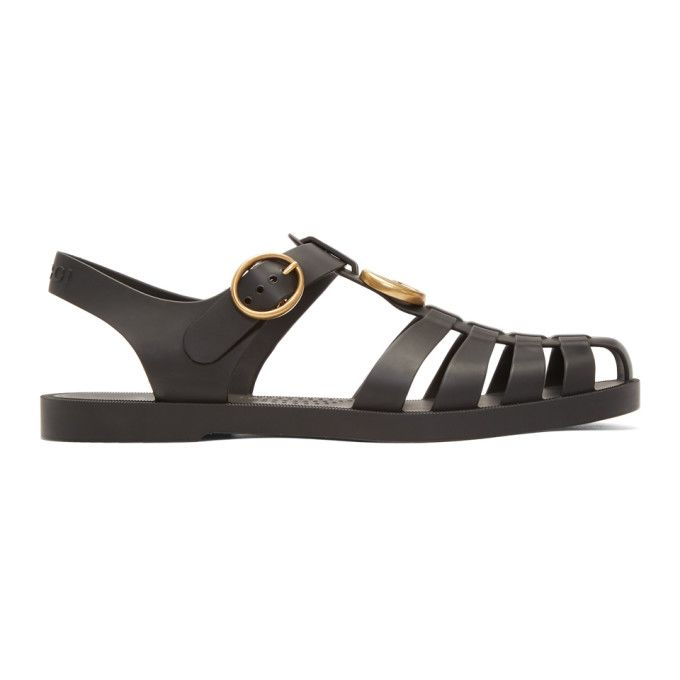 acf05a1b0f65 GUCCI Black Glossy Rubber Sandals.  gucci  shoes