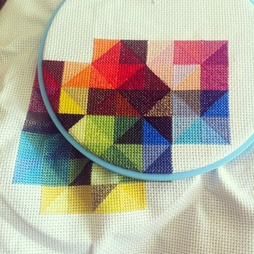 Geometric cross stitch. Nice color combos for a HST quilt.  @Kelly Teske Goldsworthy Teske Goldsworthy Teske Goldsworthy C