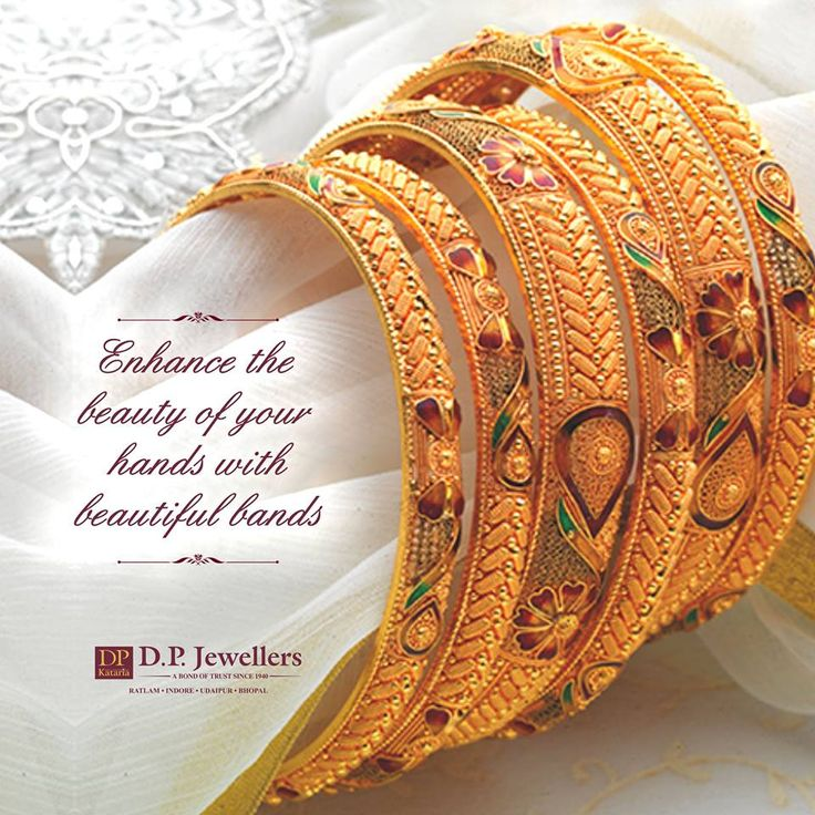 Enrich the charm of your beautiful hands by wearing the modish and alluring bangles.  #Bangles #BeBeautiful #PureGold #DpJewellers