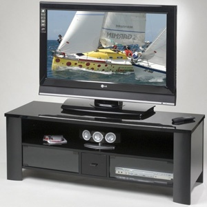 Home • Televisions • A/V Furniture  Elite Industries EL428 56-in Wide Durable High Gloss Black Lacquer TV Stand -  $367
