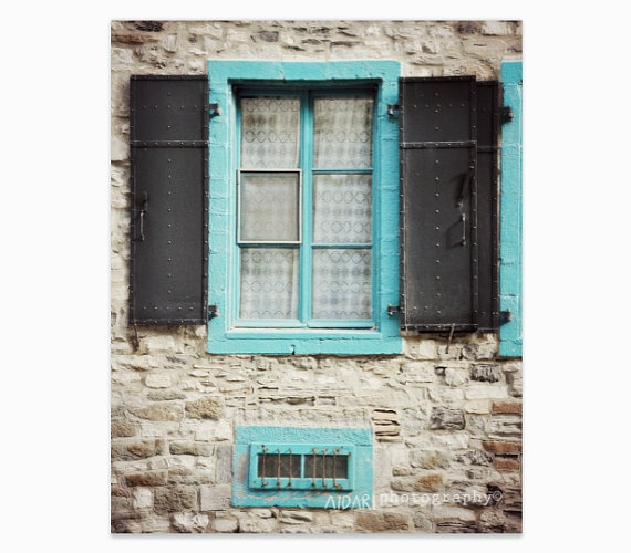 Blue Window Fine Art Photography Turquoise Stone Wall by AldariArt,