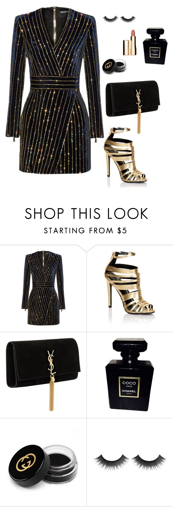 """Black and Gold"" by kellyamber1993 ❤ liked on Polyvore featuring Balmain, Lipsy, Yves Saint Laurent, Chanel, Gucci and Clarins"