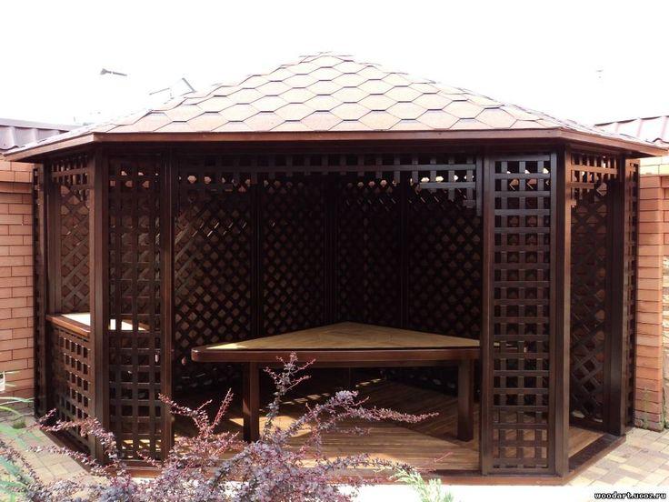 Угловая беседка элит класса — Мастерская Woodart-изготовление беседок, садовой мебели