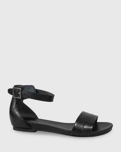ddd726d8f0f9 Lory Black Leather Open Toe Flat Sandal
