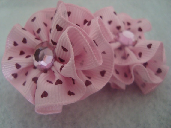 Set of 2 Layered Ribbon Flower embellishments by UnPetitPapillon, $4.50