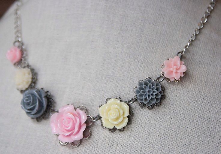 Handmade Resin Flower Bib Necklace Pink Rose Necklace Grey Flower Pink Flower Necklace Flower Bib Necklace Pink Bridesmaids Wedding Jewelry by GnidGnadDesigns on Etsy https://www.etsy.com/listing/226270118/handmade-resin-flower-bib-necklace-pink