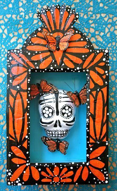 Day of the Dead Butterfly Shrine- Mexican Folk Art-  Tin Nicho