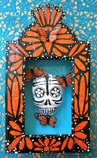 Example for Nicho project - pattern/theme repeated on frame  (Tin shrine for Day of the Dead)