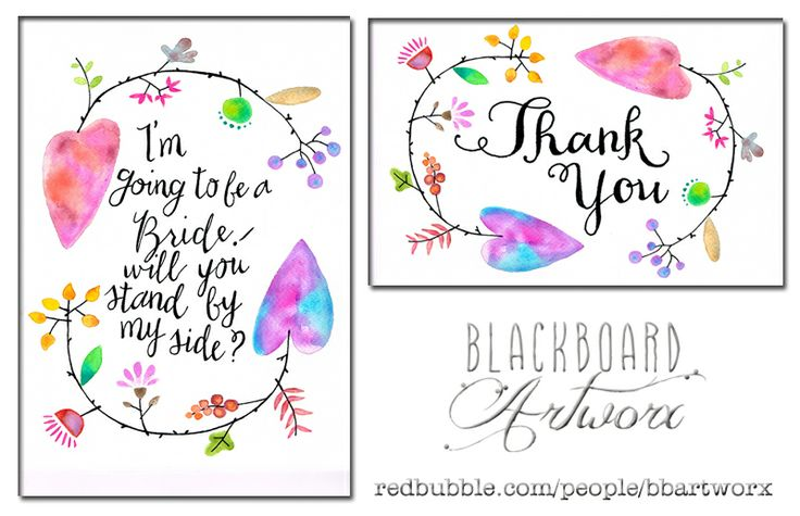 Will you be my bridesmaid and thank you card, both featuring my sweet heart arrows. Available as cards, prints and wall art at www.redbubble.com/people/bbartworx #willyoubemybridesmaid #thankyoucard #thankyou #watercolour #watercolor #typography