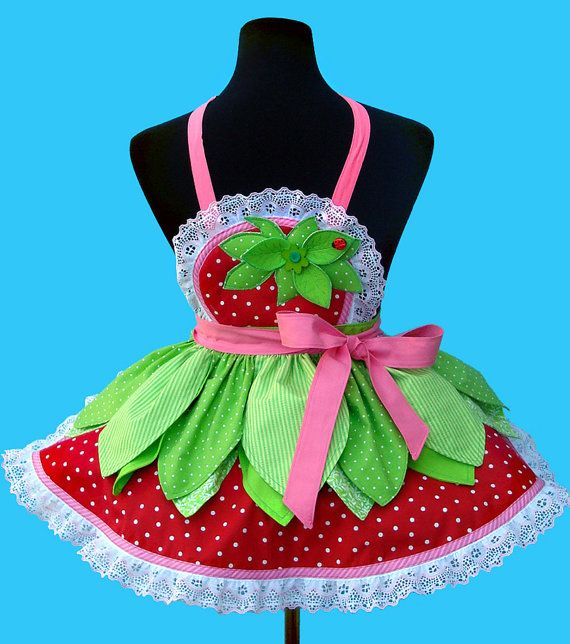 Girl's Apron STRAWBERRY PATCH girl's birthday by OnceUponAPoodle, $48.95