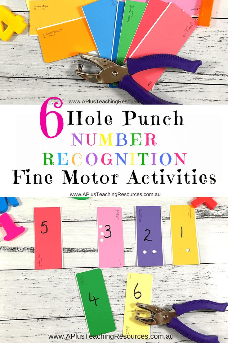 These hole punch fine motor activities are great for helping young children develop the smaller muscles found in the hands, fingers and wrists. This simple number recognition activity involves paint chip cards from the DIY store and a hand held hole punch. Kids practice matching numbers to quantity by simply punching out the correct number of holes on each number card. So Simple!  Young Kids will love this creative, open-ended, hole punch fine motor activity as a math rotation task to help…