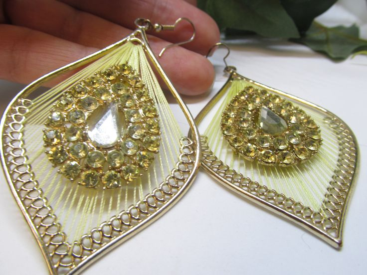 Vintage Pale Yellow Rhinestone Earrings Unique Gorgeous Vintage Gold tone Rhinestone Peacock Feather Shaped Threaded Back Pierced Earrings by vintagejewelrycloset on Etsy