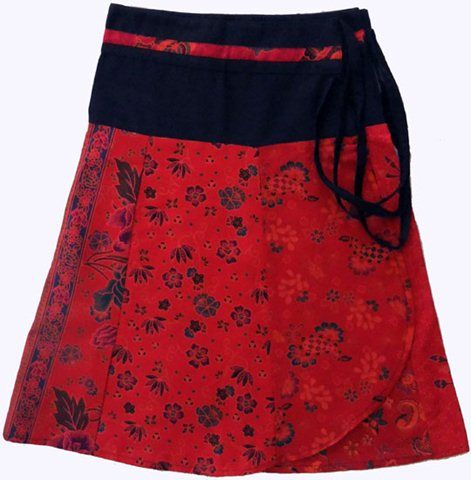 Red short batik wrap skirt by marketique. #Andable | When you buy, we share -