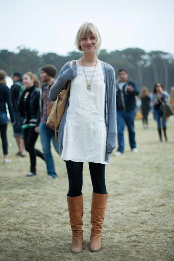 white dress, black tights, grey cardigan, long silver necklace, perfect cognac boots
