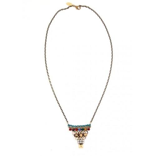 Iosselliani - Brass Triangle Necklace with Multicolour Stones