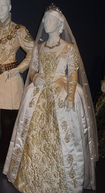 Jane Seymour's  (Queen of England, 3rd wife of King Henry VIII) wedding dress.  You can see King Henry's wedding outfit too.