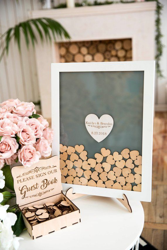 Wedding Guest Book /& Box Available in a choice of colours. Guest Book with /'Love/' printed on the cover