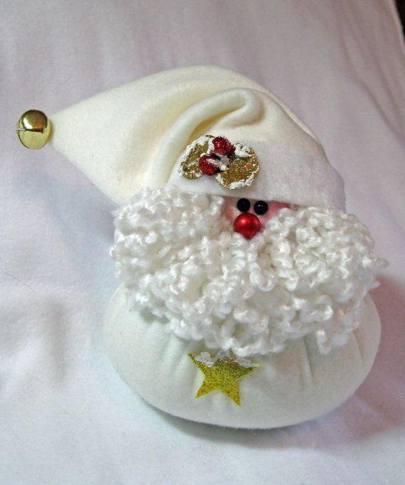 SANTA CHRISTMAS DECORATION Little Bit in Cream by ByFreddismom, $6.95