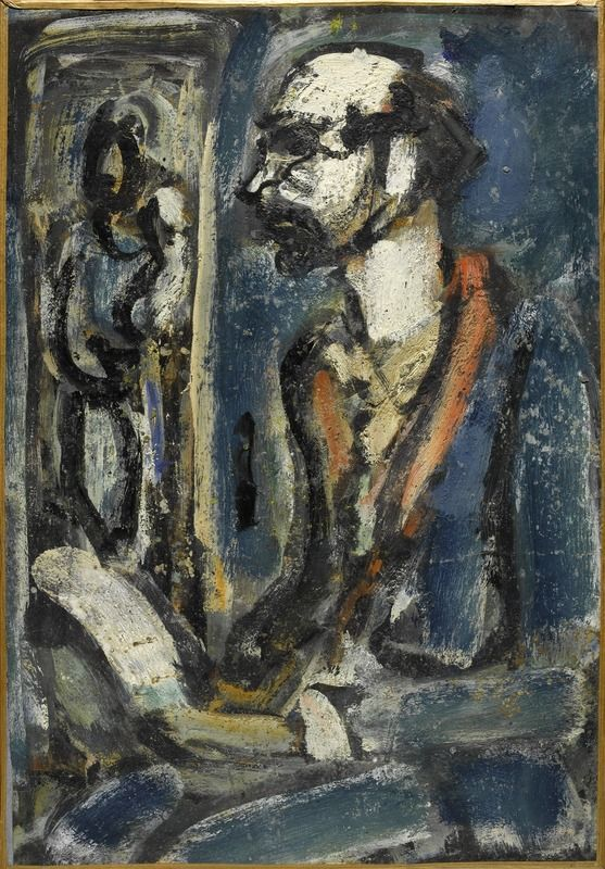 Georges Rouault (1971 - 1958). Verlaine à la Vierge (Miserere), 1929 - 1939, Huile, encre, gouache sur papier marouflé sur toile, 52,2 x 36,7 cm. Centre Pompidou.