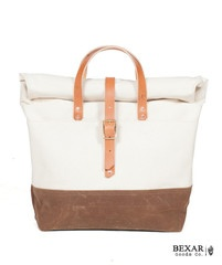 Roll Top Tote White & RustRolls Tops, Fashion, Tops Totes, Clothing, Rolltop Totes, Canvas, Accessories, Leather Bags, Totes White