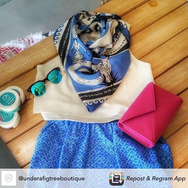 """Odysseus"" silk scarf by Grecian Chic at ""Under a Fig Tree Boutique"" Imerovigli, Santorini!"