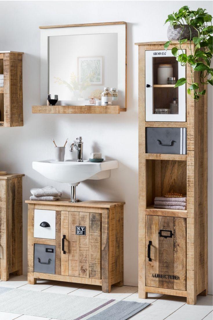Badezimmer Ideen Badmobel Badschrank Holz Rustikal Waschtisch Unterschrank Kleinesbad Waschbeckenuntersc Waschbeckenunterschrank Badschrank Wc Mobel