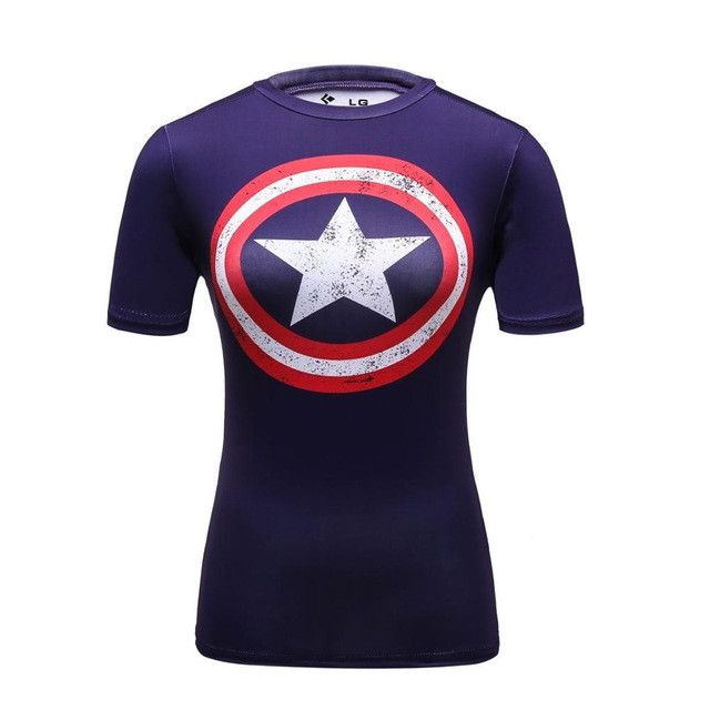Female Casual T Shirt Superhero Women Superman/Captain America/Spiderman/Batman Shirts Bodybuilding Compression Tops