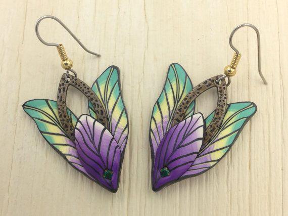 Natuur oorbellen, Fimo blad oorbellen van ebben hout polymeerklei earrings, veer handgemaakte fairy floral fantasy blad kato sculpy fimo E0034