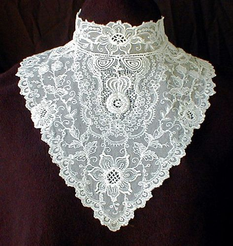 Lace jabot or dickie, 1910. - Google Search